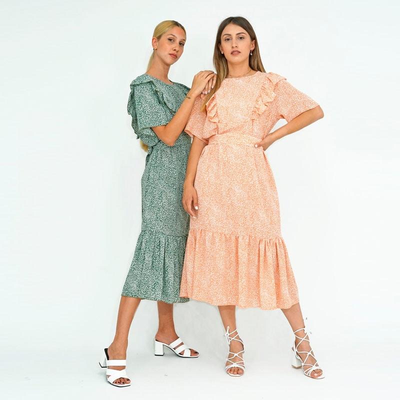 Φόρεμα Μίντι με Βολάν