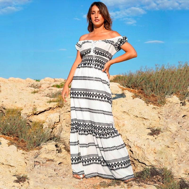 Μάξι Φόρεμα με Κέντημα