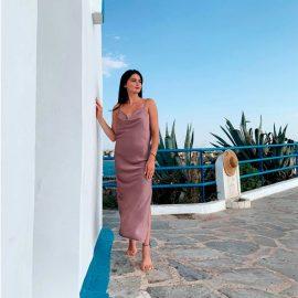 Φόρεμα Μάξι Σατέν με Τιράντες